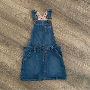 Carters Overall Jean Skirt with Floral Detail